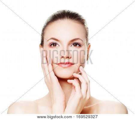 Healthy Woman with Fresh Skin Isolated. Spa Beauty Aesthetic Medicine and Treatment