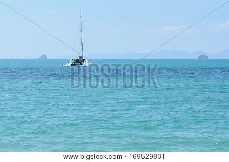 Boat on Andaman sea, Landscape of Andaman sea in Thailand