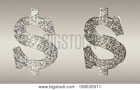 Jewelry in form of dollars on light background. Icon USA currency from of silver, platinum, gold with sparkle. Symbolize  luxury, success, can be used in jewelry promotion, web design, etc. Vector.