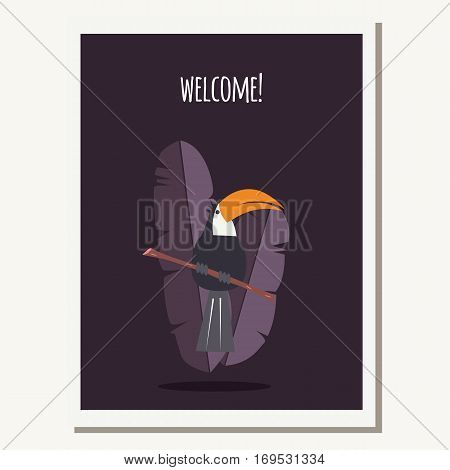 Greeting card with cute toucan parrot and text message vector illustration