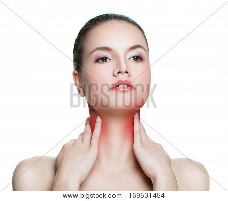 Sore Throat of a Woman Isolated on White Background