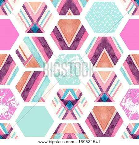 Watercolor hexagon seamless pattern with geometric ornamental elements. Abstract ornate geometrical background with grunge texture. Hand painted illustration in pastel colors