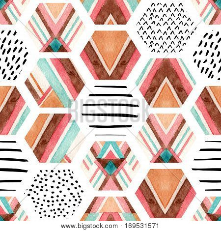 Watercolor hexagon seamless pattern with geometric ornamental elements. Abstract ornate geometrical background with grunge texture. Hand painted illustration with striped shapes