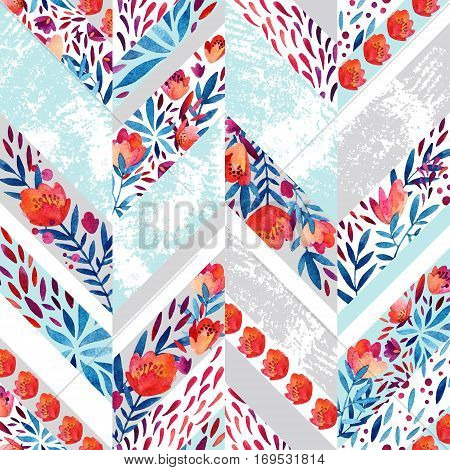 Chevron seamless pattern with watercolor flowers. Abstract hand painted floral elements and grunge texture. Cute pattern for summer design in pastel colors on distressed background