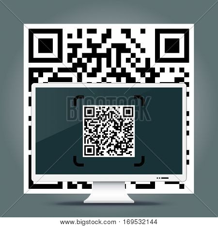 QR Codes decoding with a computer - quick response code business infographic template