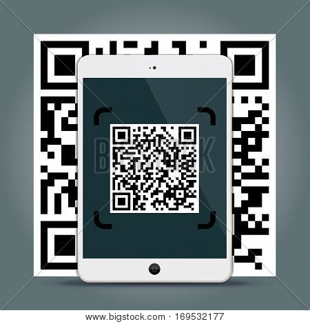 QR Codes decoding with a tablet - quick response code business infographic template