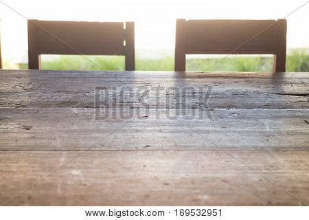 Old school wooden table and chair stock photo