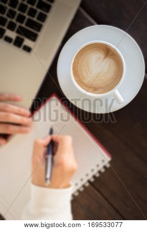Work table of simply business woman stock photo