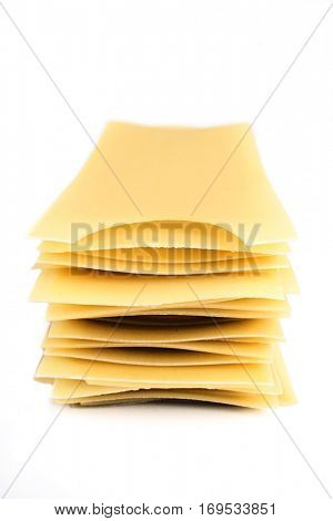 Lasagne pasta on white background