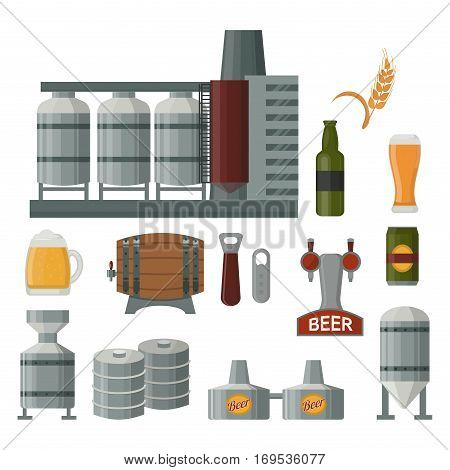 Beer brewing process. Flat style alcohol factory production elements. Mashing, boiling, cooling, fermentation, filtering packaging. Industrial barrel ingredients technology.