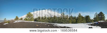 winter Etna Mountains pano landscape from mount Capre, Sicily