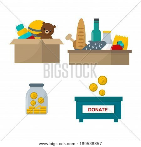 Donate help symbols charity organization heart flat icons. Set of food and other donation abstract isolated vector illustration. Humanitarian holding money.