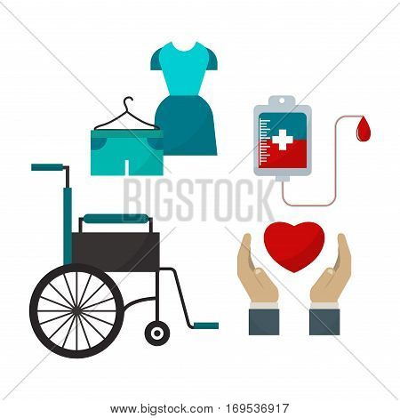 Donate help symbols charity organization heart flat icons. Wheelchair protection donation abstract isolated vector illustration. Humanitarian holding money.