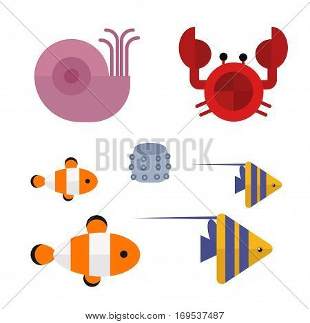 Vector set of cute sea creatures characters. Cartoon ocean underwater animals. Aquarium life water collection isolated graphic aquatic tropical fish.