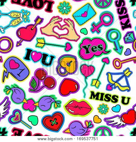 Colorful funny seamless pattern of love stickers emoji pins or patches in cartoon 80s-90s pop comic style. Happy Valentine's day or wedding background.