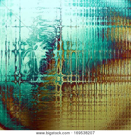 Vintage ancient background or texture with grunge decor elements and different color patterns: yellow (beige); brown; blue; purple (violet); cyan