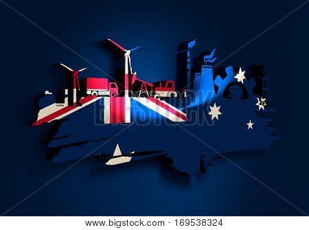 Energy and Power icons set and grunge brush stroke. Energy generation and heavy industry relative image. Agriculture and transportation. Flag of the Australia. 3D rendering