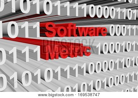 software metric in the form of binary code, 3D illustration