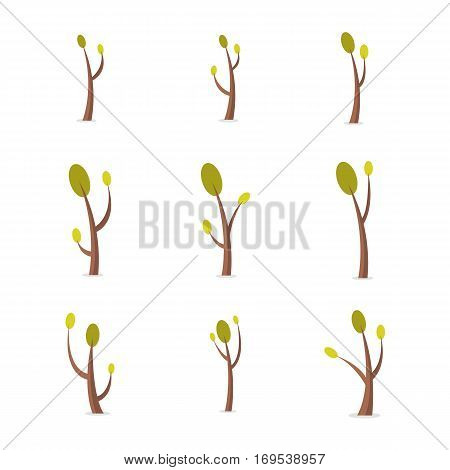 Set of tree at spring collection stock