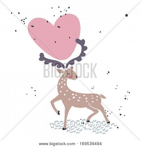 deer with heart in his horns