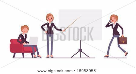 Set of young female manager sitting relaxed in the armchair with laptop, pointing to the empty board, walking and talking on phone, copyspace, full length, isolated against white background