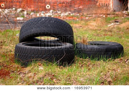 Tires on the grass