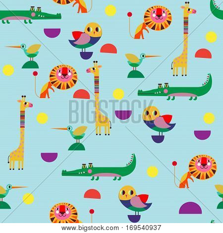 Seamless pattern perfect set vector illustration in cartoon style with funny naive animals and birds. Lovely cute animals: a lion a stork a crocodile owl