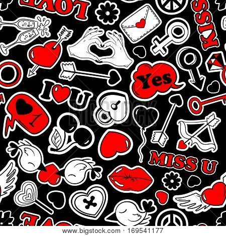 Colorful fun seamless pattern of love stickers emoji pins or patches in cartoon 80s-90s pop comic style. Happy Valentine's day or wedding background.