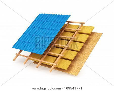 The scheme of the roofing system. 3D illustration