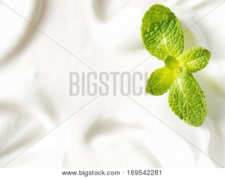 greek yogurt or sour cream texture and mint leaf close up with copy space. Top view or flat lay
