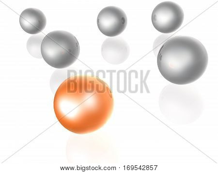 Orange and grey spheres as abstract background 3D illustration.