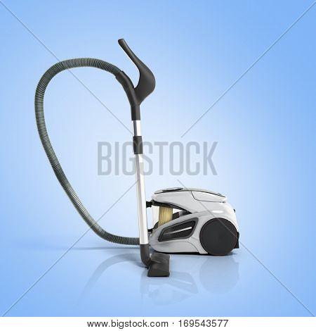 3D Render Of Vacuum Cleaner On Blue Gradient Background