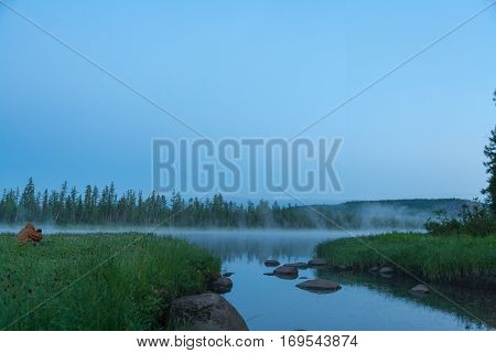 Foggy morning on the river. Eastern Siberia, Russia