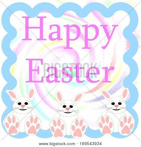Easter bunny greeting on swirl background illustration