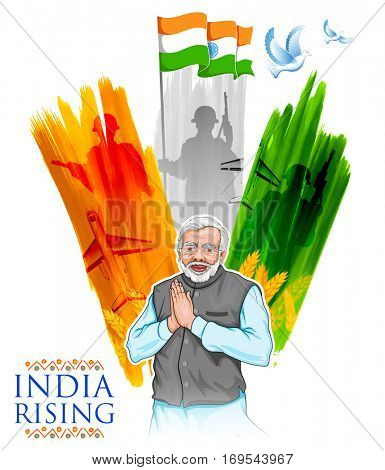 illustration of India tricolor flag background with proud Indian people