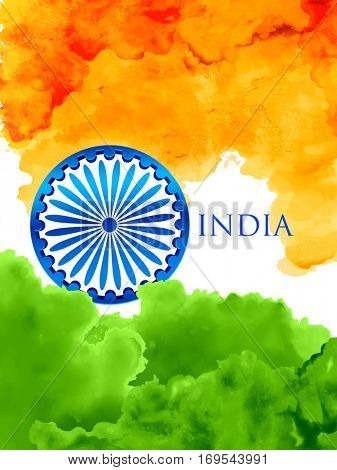 illustration of abstract tricolor Indian flag watercolor background