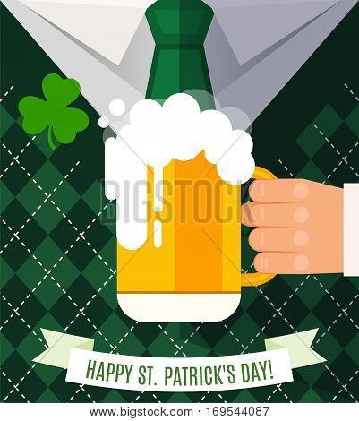 Happy Saint Patrick's Day, Leprechaun Man With Beer Mug Congratulation And Clover. Postcard Flat Des