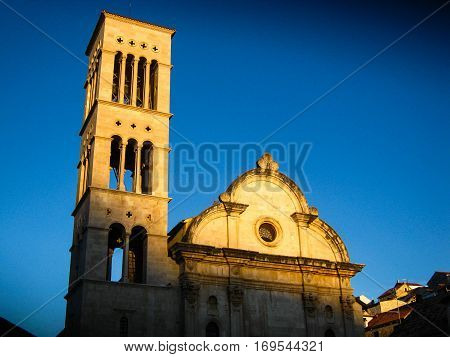 A view of the church in the center of Hvar, Croatia