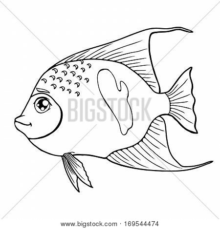 Fish arabian angel black contour on a white background isolated. Marine animal. Coloring page book. Vector cartoon illustration. Manual contour line.
