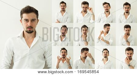 Set of young man's portraits with different emotions. Set of emotions. Different emotions.