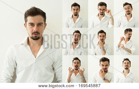 set of bearded man expressions on grey background. Young man with multiple face expressions. Set of emotions. Different emotions.
