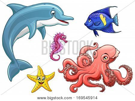 Set cute marine animals colorful on a white background isolated. Dolphin, octopus, sea horse, star fish and arabian angel. Vector cartoon illustration. Manual sketch.