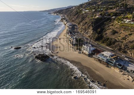 Aerial of homes along Pacific Coast Highway in Malibu California.
