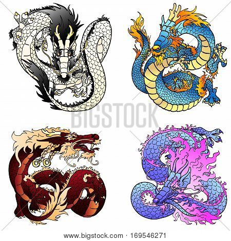 Set of four Asian east dragons of different colors and elements on the Chinese horoscope. Flying white metal monster. Cheerful blue water pangolin. Strong brown earth and playful violet spirits.