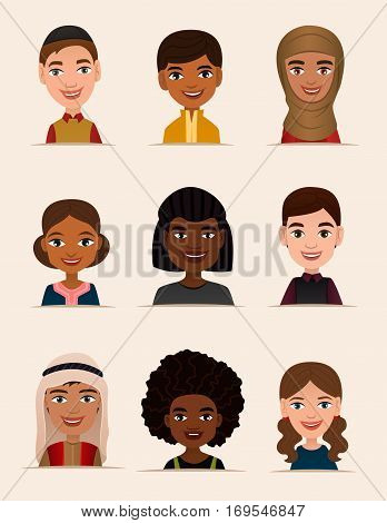 Happy young people avatar icon set vector illustration. Smiling boy and girl of different nationalities, people heads. Multicultural society concept, young man and woman characters in national dress