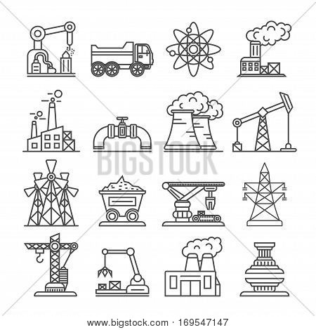Industrial building factory and power plant icon set isolated vector illustration. Alternative energy generation, factory building, nuclear manufacturing, oil and gas production linear pictograms.