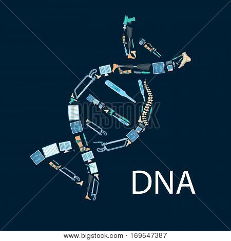 Orthopedy and orthopedics surgery poster in shape of DNA symbol. Orthopedic items and medical tools of human spine, foot and leg limb prosthesis, surgeon drill, hammer and bone saw, thermometer and scales, x-ray radiograph, tonometer or pulsometer