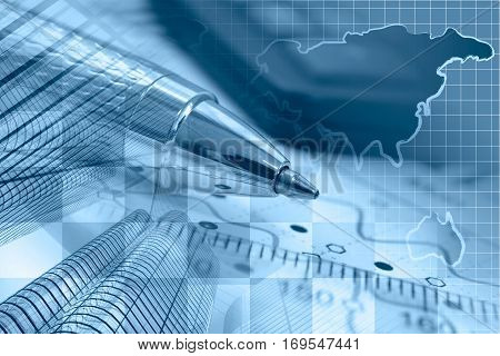 Business background in blues with buildings map graph and pen.