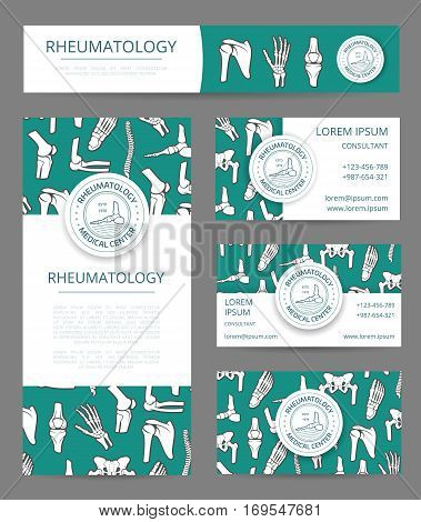 Rheumatology medical center banner, flyer and card template with human skeleton bones. Leg, hand, foot, spine, pelvis, elbow and shoulder joints with seal stamp and text layout for clinic design