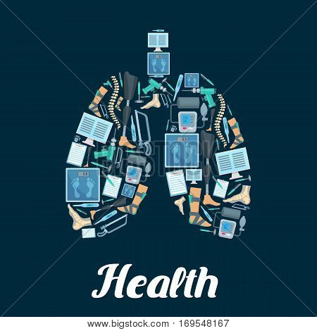 Lungs symbol. Vector medical poster of orthopedy and orthopedics surgery medical tools and items of human spine, foot and leg limb prosthesis, surgeon drill, hammer and bone saw, tonometer or pulsometer, thermometer, scales and x-ray radiograph